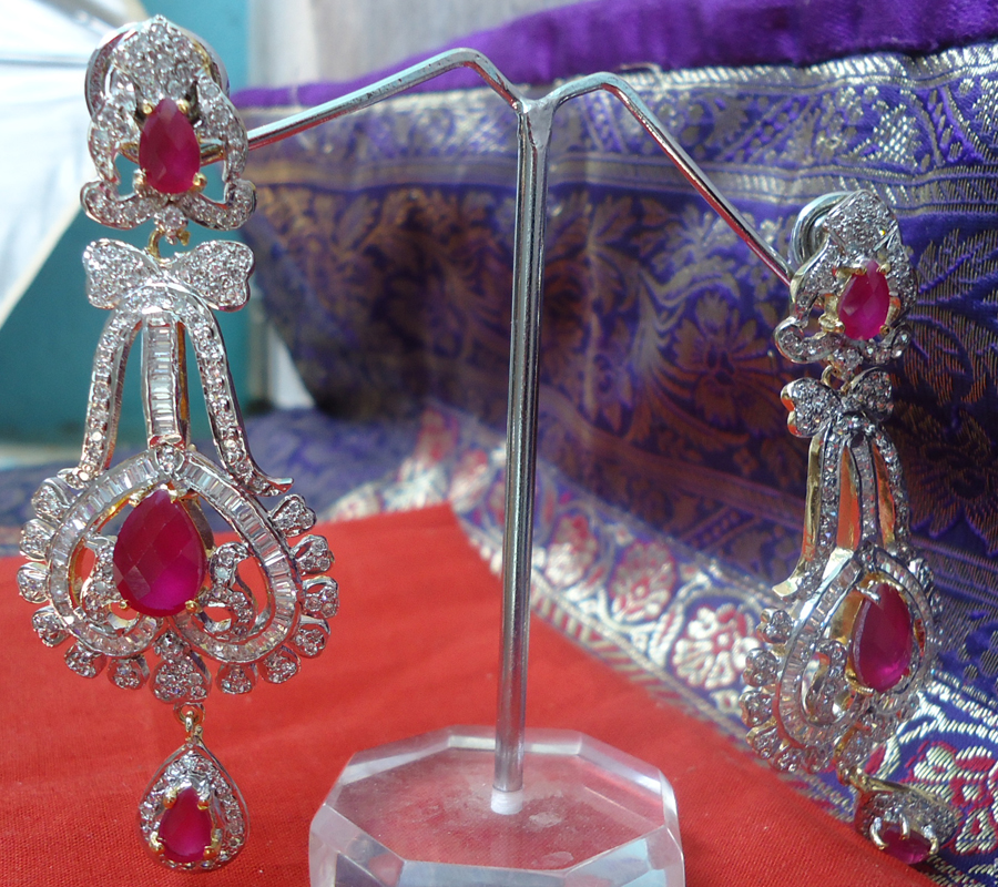 Red Diamond Chandelier Earrings: Upto 50% Off Eshaa Jewellery