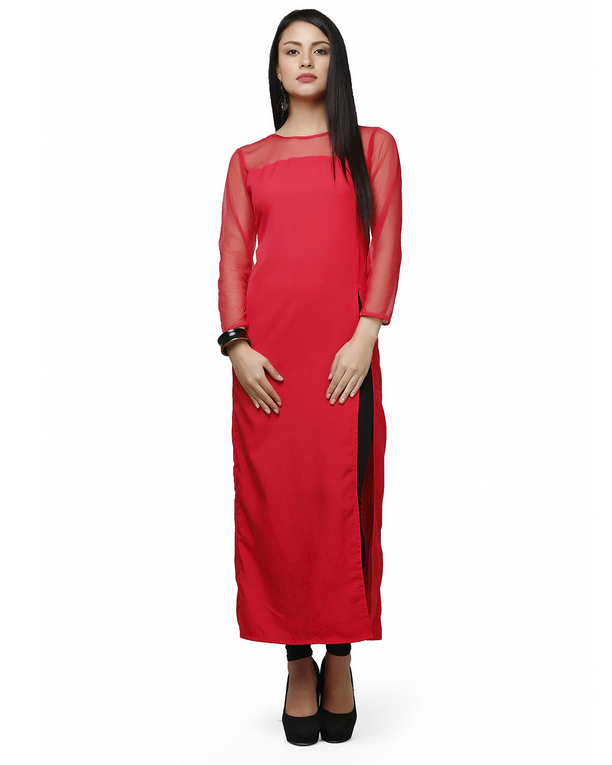 Buy Abhishti Crepe Net Long Kurta online, Latest Abhishti ...