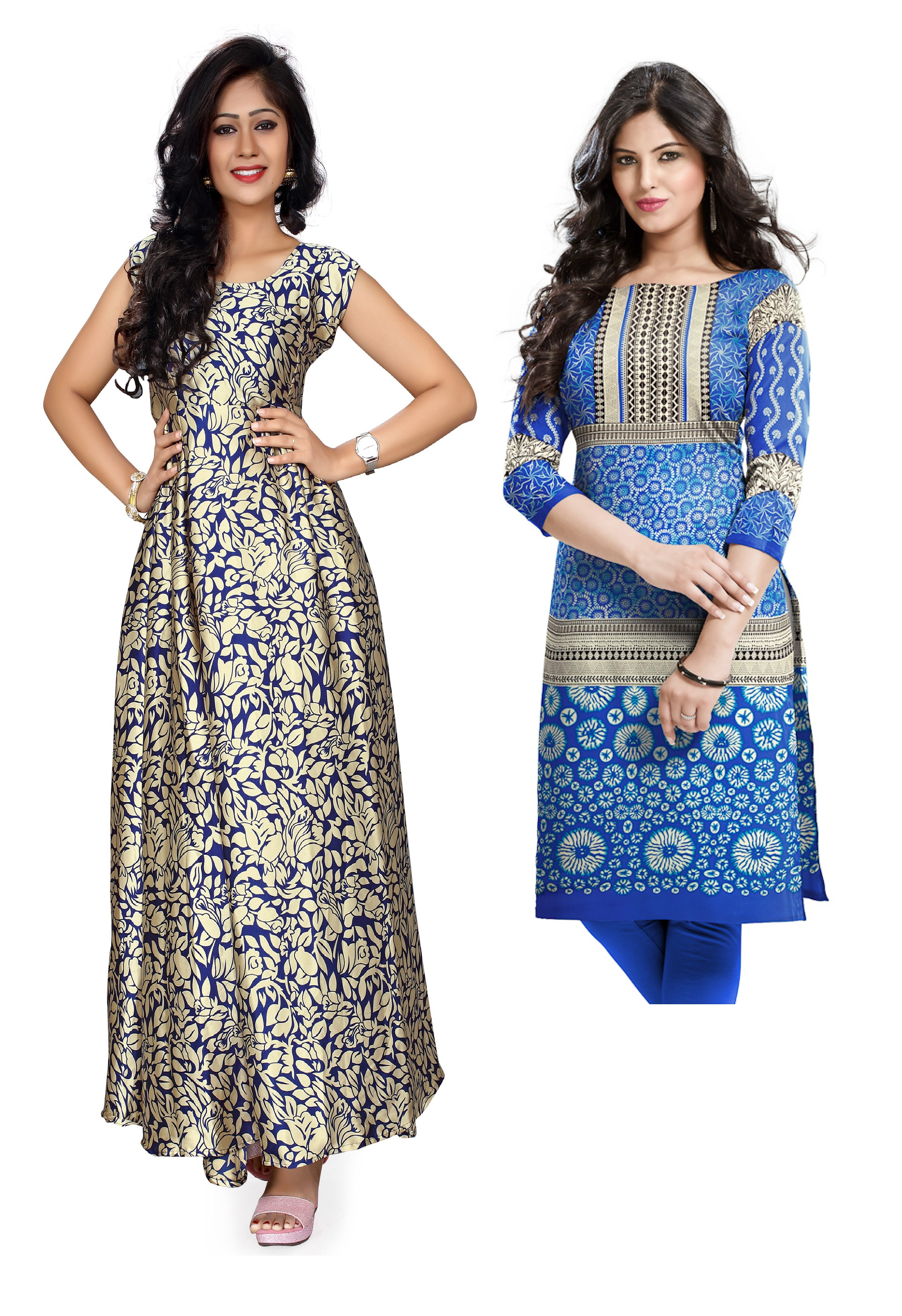 Upto 77% Off On Beige Blue Color Party Wear Gown + Cotton Kurti Unstitch Soumiya Gown/sl708 By Craftsvilla @ Rs.1299