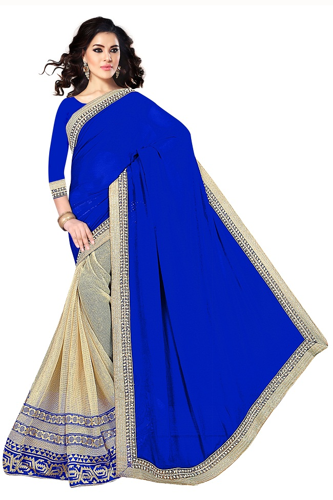 Buy New Blue N Cream Designer Sadi Online Latest New Blue N Cream Designer Sadi By B4u Fashion