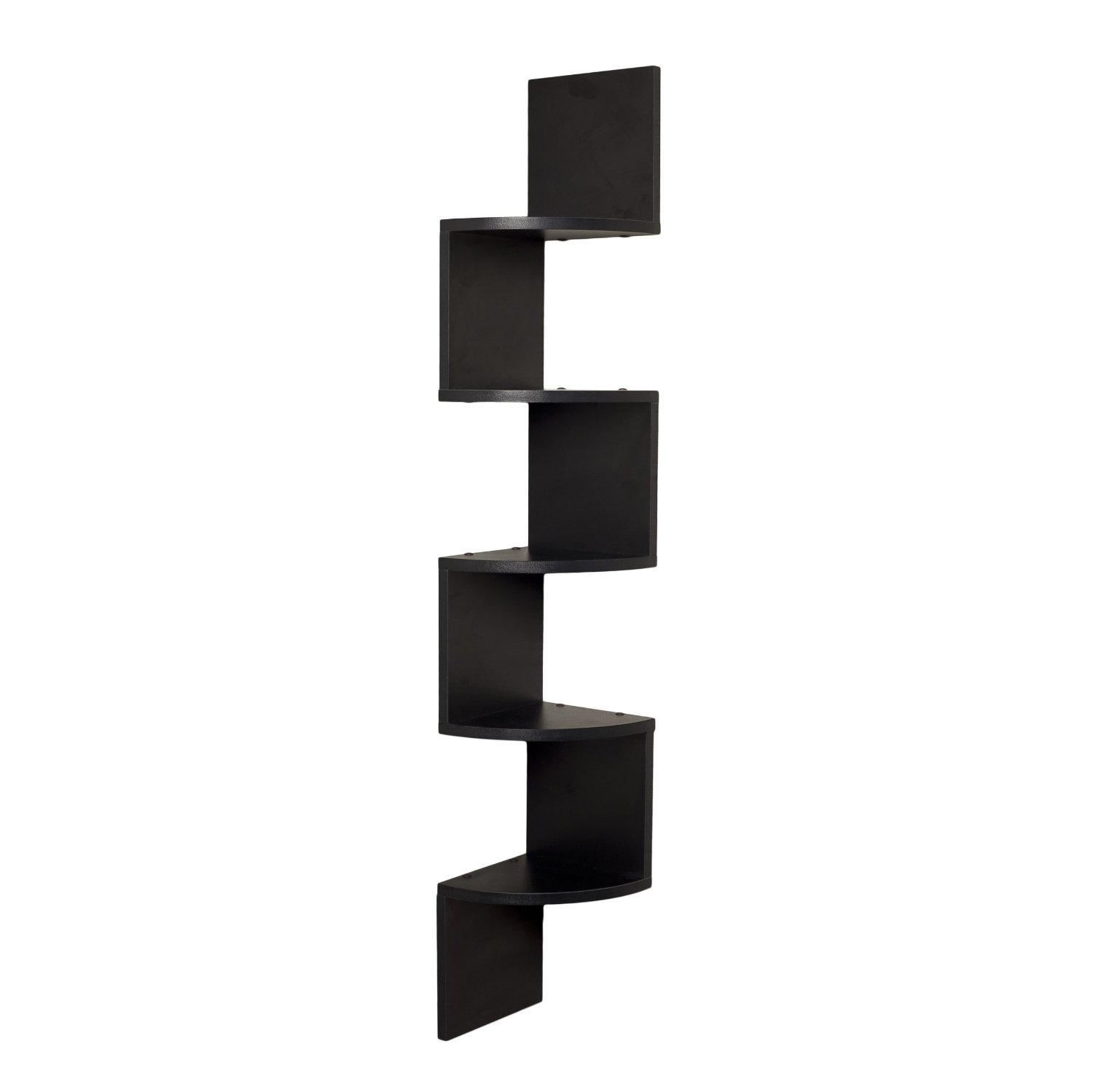 Very Impressive portraiture of Corner Wall Shelf Unit Zigzag Shape 5 Curved Shelves : Black Home  with #5E5951 color and 1500x1499 pixels