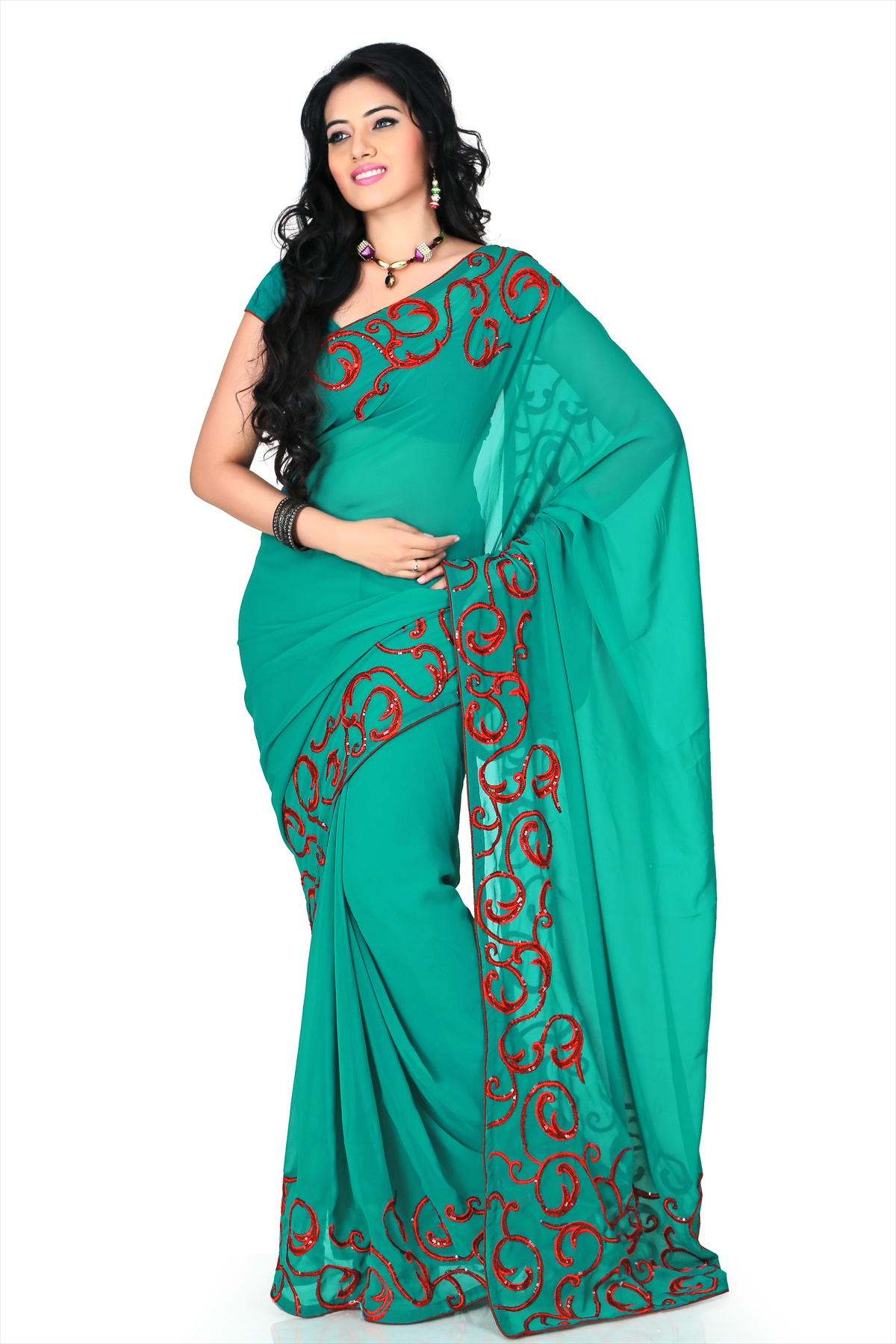 Buy Teal Green Faux Georgette Saree With Blouse (cnc1172 ...