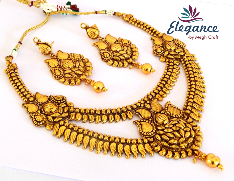 South Indian One Gram Gold Plated Temple Necklace Set