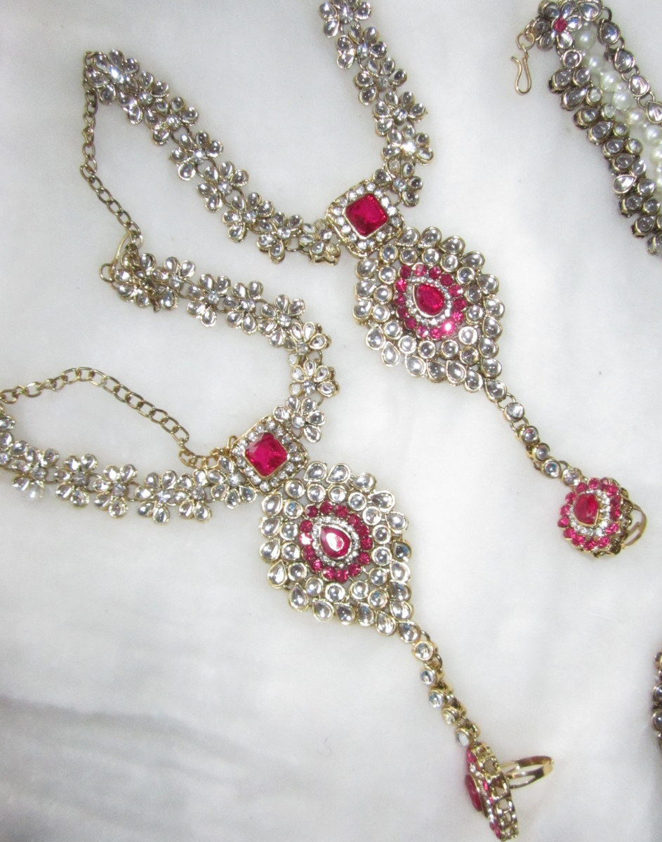 Rani Pink Bridal Dulhan Set Kundan Pearls Necklace