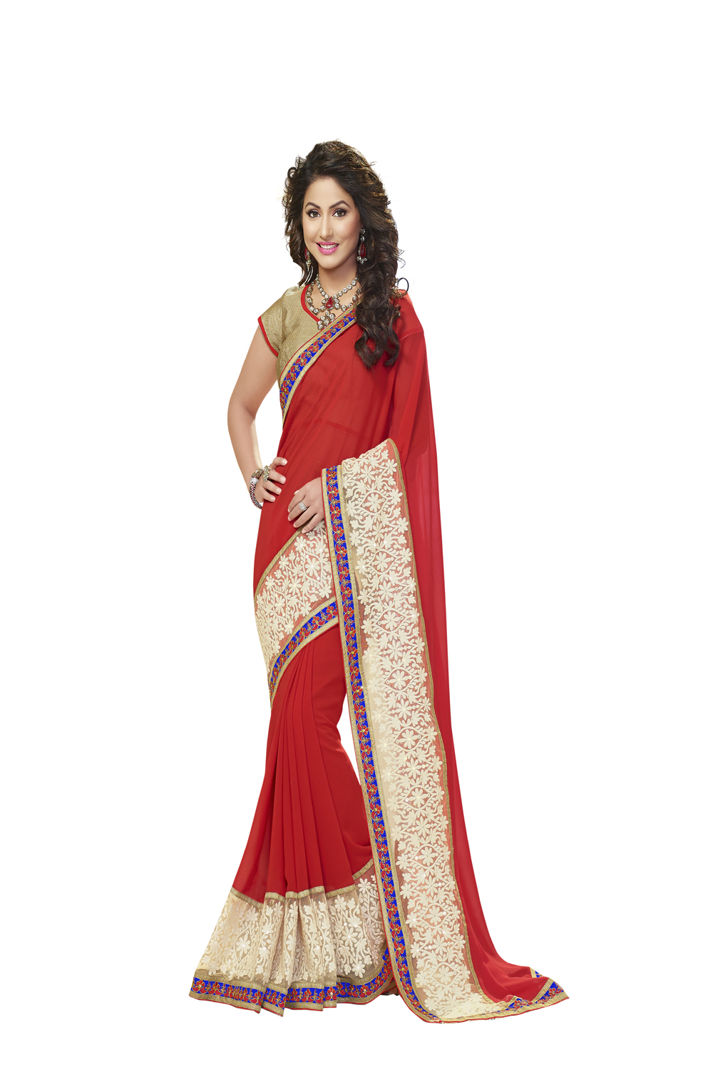 Buy florence red chiffon embroidered saree online latest
