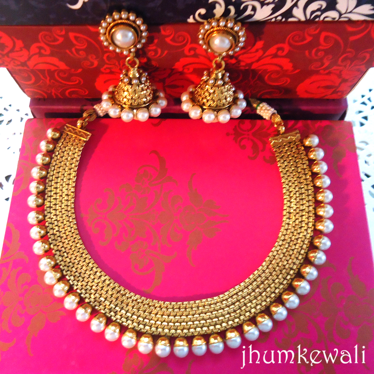 Gold N Line Of Pearls Necklace With Jhumkas Jewellery