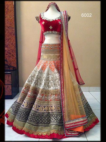 buy off white and red embroidered net and velvet lehenga