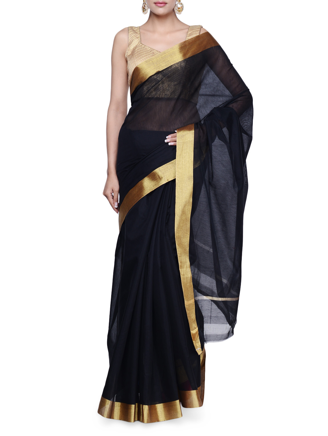 Buy Luxe Black Tussar Silk Saree With Gold Border Online