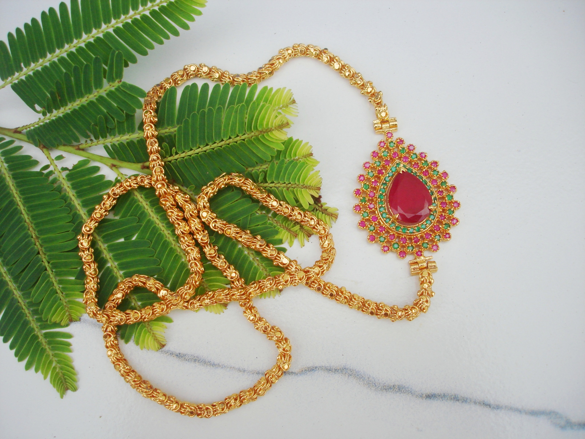 Buy Chandramukhi Chain With Ruby Side Pendant Online