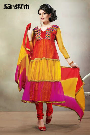 Amazing Anarkali Semi Stitched Material - Online Shopping For Dress Material By Sanskriti ...