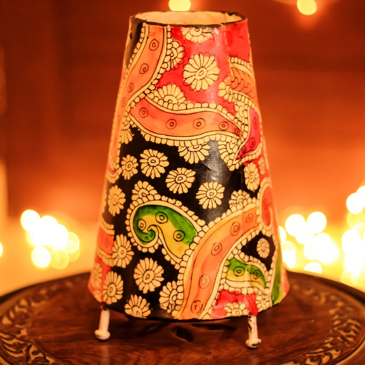 Multicolored Leather Puppetry Floor Table Lamp Home Decor Unravel India