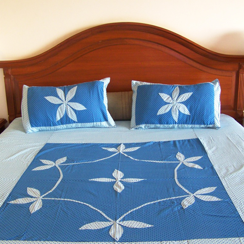 Dotted Print With Heavy Applique Work Bed Sheet Set