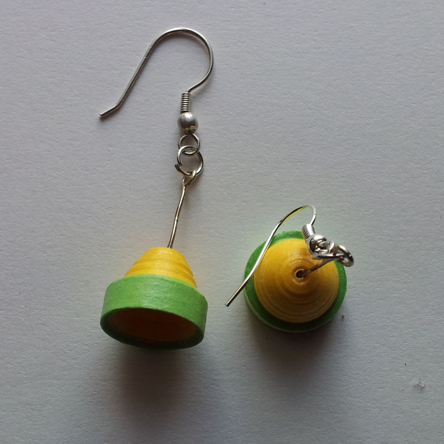 Quilling Papers Earrings: Paper Quilling Bell Shaped Earring-Jewellery-Craft Boutique