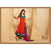 Akshara Brand Hot Orange Color Salwar Suit