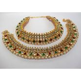 Craftsvilla Mullti Color Anklet With White Stone And Kundan
