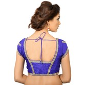 Royal Blue Dupion Silk Saree Blouse With Patterned Back
