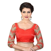 Dupion Silk Blouse With Sequence Embroidery Work On The Sleeves