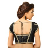 Black Dupion Silk Saree Blouse With Patterned Back