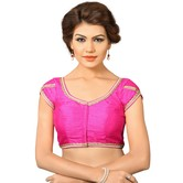 Pink Dupion Silk Saree Blouse With Patterned Back