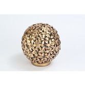 Designer Spherical (orb) Lamp Made Of Soft Steel & Wood Basel And Glass In Antique Gold Color V0004