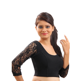 Black Velvet Strecthable And Lace Stitched Blouse