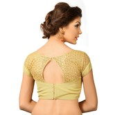 Golden Tissue Blouse With Net Sleeve On Shoulder And Back
