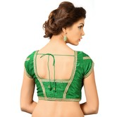 Green Dupion Silk Saree Blouse With Patterned Back