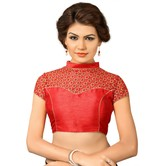 Net High Neck Embroidered Blouse Red