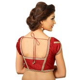Maroon Dupion Silk Saree Blouse With Patterned Back