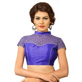 Net High Neck Embroidered Blouse Royal Blue