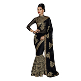 Black Georgette Embroidered Saree With Blouse