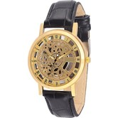 Gold Dial Transparent Analog Watch - Black Gold