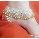 Craftsvilla Gungharu Gold Plated Alloy White Color Stone Pair Anklets For Women