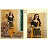 7052 : Exclusive Black & Yellow Stylish Patiyala Salwar Suit