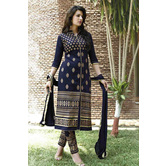 Blue Embroidered Cotton Semi Stitched Suit