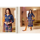 Myriaam 129  : Blue Embroidery Party Wear Straight Suit
