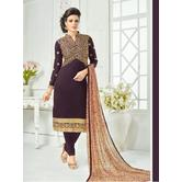The Fashion World  Brown Color Embroidery And Printed Worked Dress Materials With Printed Dupatta