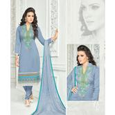 The Fashion World  Grey Color Embroidery And Printed Worked Dress Materials With Printed Dupatta
