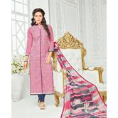 The Fashion World  Pink Color Embroidery Worked Dress Materials With Printed Dupatta