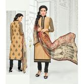 The Fashion World  Beige Color Embroidery And Printed Worked Dress Materials With Printed Dupatta