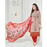 The Fashion World  Red Color Embroidery Worked Dress Materials With Printed Dupatta