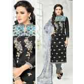The Fashion World  Black Color Embroidery Worked Dress Materials With Printed Dupatta