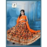 The Fashion World  Orange And Digital Multi-color Printed And Lace Worked Semi Stitched Salwar Suit