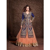 New Exclusive Blue And Peach Satin Cotton Long Semi-stitched Lehnga Choli  Dy22002