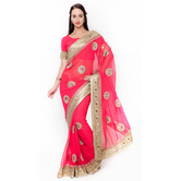 Triveni Scenic Pink Colored Border Worked Faux Georgette Saree