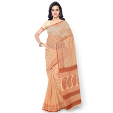 Triveni Trendy Beige Colored Printed Blended Cotton Saree