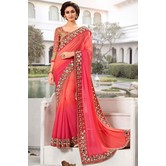 Orange Women\'s Faux Georgette Saree (try_pink_pink)