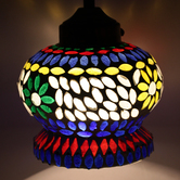 Earthenmetal Handcrafted Mughal Crown Shaped Mosaic Design Glass Hanging Light