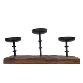 Trio Candle Holder - Rustic Wood