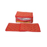 Kuber Industries Saree Cover Set Of 3 Pcs In Bandhani Cloth Material (red)